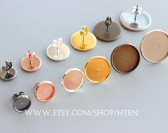 100pcs Stud Earring Blank Bezel, Earring Base, Earring Settings Bronze / Silve / Gold / Gold / Rose Gold Brass Earring Posts With Round Pad