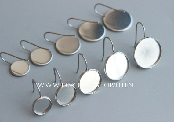 20pcs Stainless Steel Ear Stud Cup Earring Posts Cabochon Settings 8mm//10mm//12mm