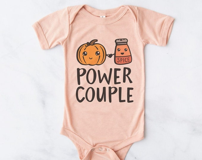 Power Couple / Pumpkin Spice  / Halloween Baby Bodysuit  / Baby Clothes /