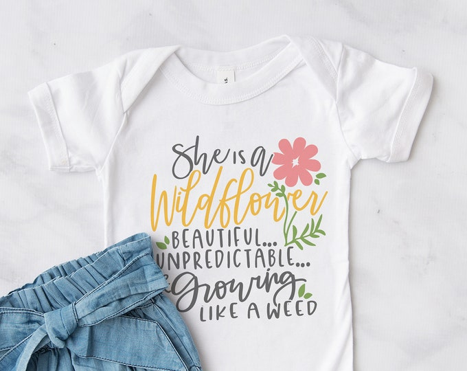 She is a Wildflower bodysuit / Baby / Cute Baby Clothes / Baby Gift / Baby Shower