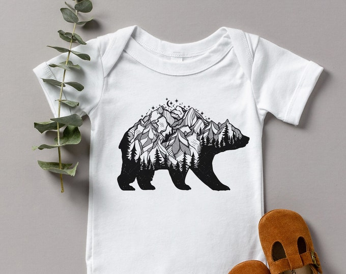 Mountain Bear Baby Bodysuit /  Cute Baby Clothes / Baby Gift / Baby Shower