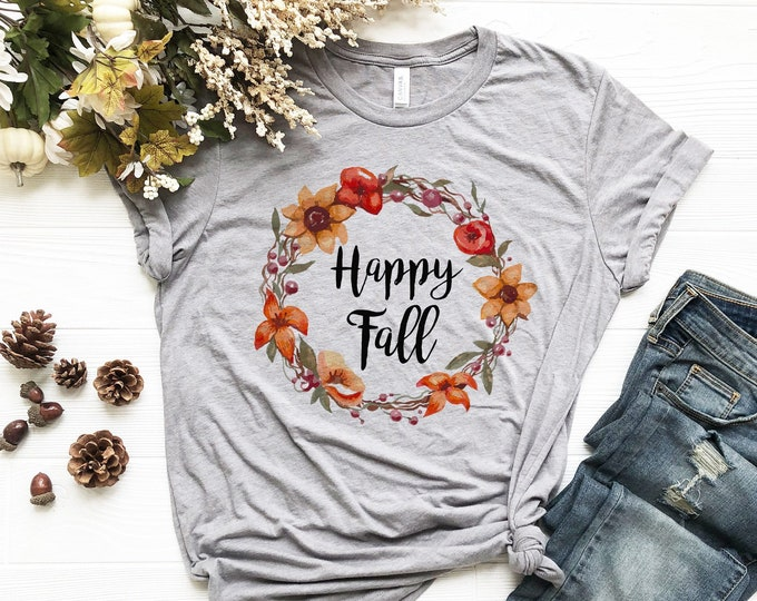 Happy Fall Wreath Shirt /  Fall Shirt /Autumn / Fall / Women's Tee / Women's Shirt