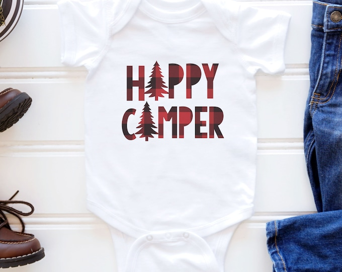 Happy Camper Plaid / Wilderness /Camping Bodysuit Baby Clothes Baby Shower Gift Outdoors  / Baby Boy