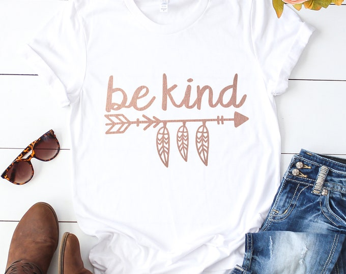 Be Kind / Graphic Tee / Rose Gold / Basic Tee / Unisex / Women's Tee