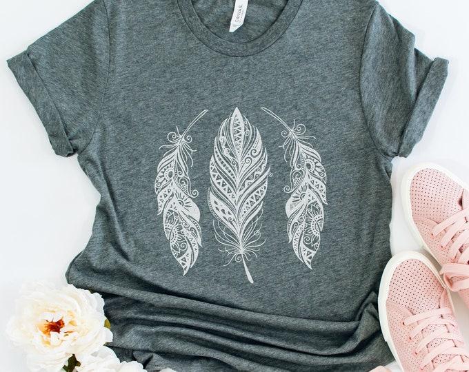 Feather Boho Tee / Graphic Tee / Basic Tee / Unisex / Women's Tee / Boho Tee / Feather Tee