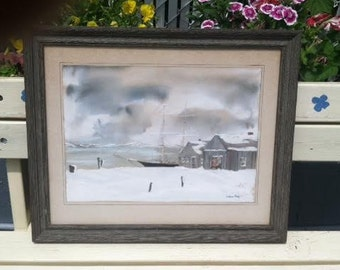 Vintage Ketch Water color painting