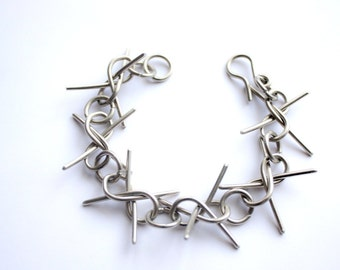 Thorn bracelet, silver thorn bracelet, rock bracelet