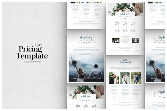 pricing guide photoshop template design photography price etsy