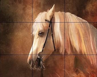 18 x 18 Ceramic Tile Mural Backsplash or Wall Decor White Horse
