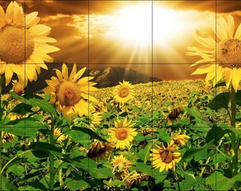 18 x 30 Ceramic Tile Backsplash or Wall Decor-Sun Beam Over Field Of Sunflowers