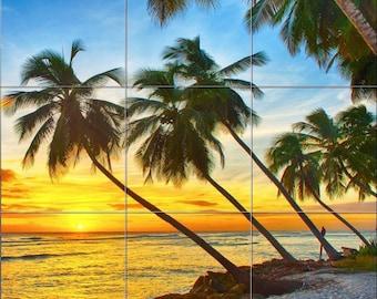 "12.75"" x 12.75"" Ceramic Tile MuraL Backsplash Sunset Beach and Palm Trees #709"