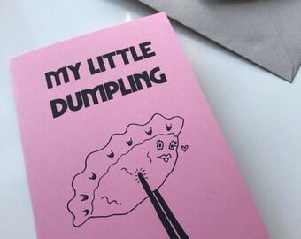 MY LITTLE DUMPLING original romantic food blank greetings card- handmade in Manchester