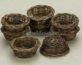 Dollhouse Miniatures Wide-Mouthed Dark Brown Oak Color Rattan Weaving Vintage Bakery Bread Basket