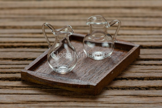 Dollhouse Miniature Set of 4 Glass Empty Jars  or Bottles