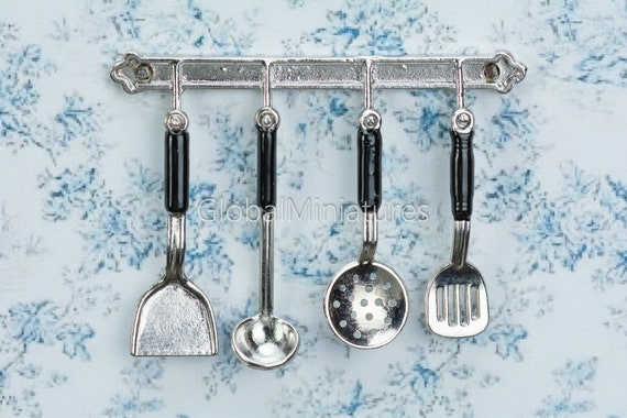 Metal Silver Cooking Utensil Kitchen Tool Silver Set for Dollhouse Miniatures
