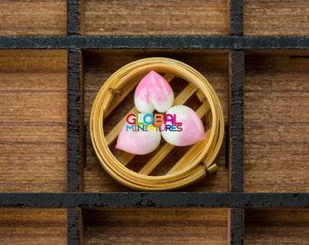 Dollhouse Miniatures Various Chinese Food Dim Sum on Bamboo Steamer - Peach-Shaped Steamed Bun