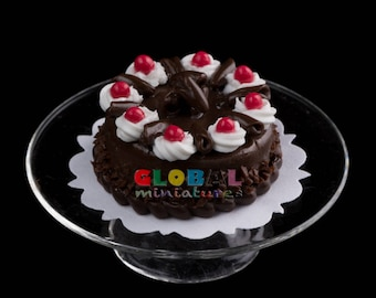 Dollhouse Miniatures Cherry Cream Topped Dark Chocolate Cake with Cover and Stand