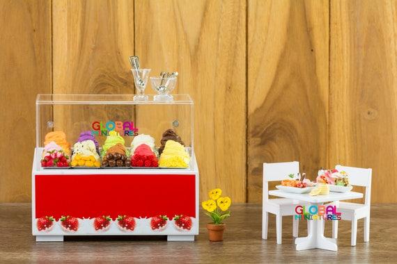 Display Wooden Acrylic Cooler Ice Cream Dollhouse Miniatures