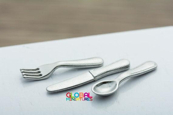 1//12 Dollhouse Miniature Cutlery Spoon Fork Dinner Ware Kits Tableware Kitchen