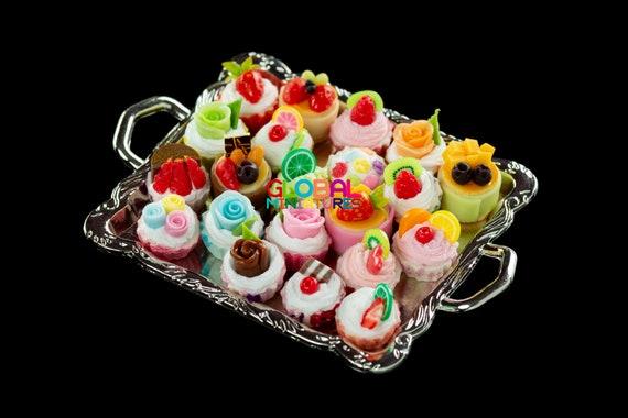 Rose Golden Tray Cakes Tray Set 1//12 Dollhouse Miniature Food Bakery Supply