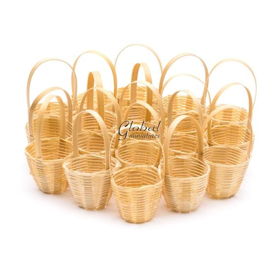 Miniature Dollhouse Handmade accessory Fruit Basket Bamboo Round Wicker 1:12