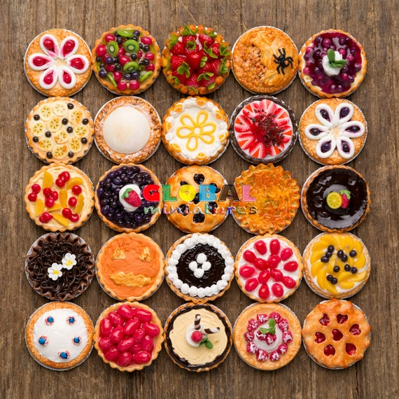 3 Set Bottles of Fruit Jam /& Tart Pie Danish Dollhouse Miniatures Food Pastry