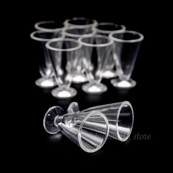 10pc//Set Dollhouse Miniatures Plastic Wide-Mouthed Ice Cream Parfait Glass