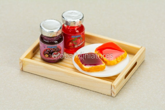 3 Smucker/'s Fruit Jam with Glass Bottle Dollhouse Miniatures Food Grocer Bakery