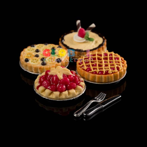 Dome Bakery Cover /& Stand Collection of Fruit Tart Dollhouse Miniatures