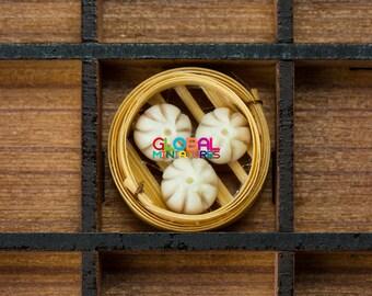 Dollhouse Miniatures Various Chinese Food Dim Sum on Bamboo Steamer - Steamed Bun