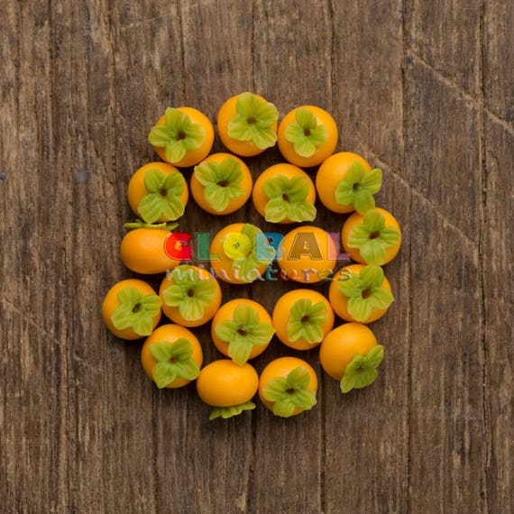 20 Loose Persimmon  Dollhouse Miniatures Fruits Food Supply Deco