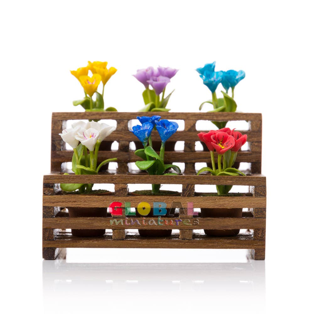 Dollhouse Miniatures Colorful Primrose Flower In Flowerpot