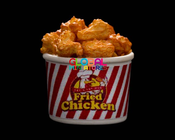 Dollhouse Miniatures Collection of Bucket of KFC Fried Chicken and Popcorn