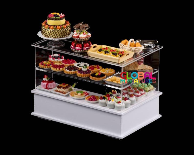 Dollhouse Miniatures Empty U-Shaped Acrylic Bakery Food Counter
