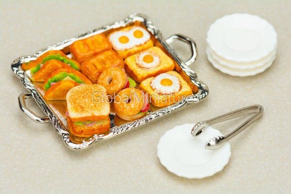 Dollhouse Miniatures Butter Cookies on Baking Tray with Handle and Silver Tong