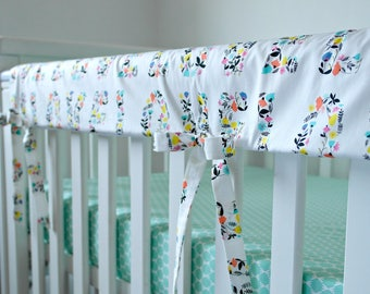 Teething rail cover - Cot Rail Cover -  Crib guard - bumperless bedding - Cot Bed Rail cover - Cover for cot