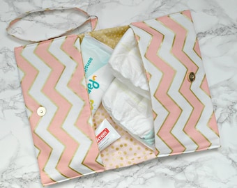 Pink nappy bag - Nappy & wipes clutch bag - Diaper clutch bag - nappy bag - new mum gift - new mom gift