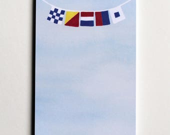 """Signal Flag Notepad, flags spell """"NOTES"""""""