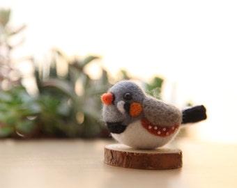 Needle felted bird mandarin / Felted toy