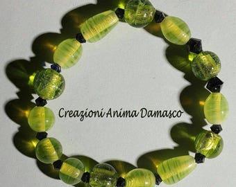 Armband handgefertigt Perlen Smaragdgrün