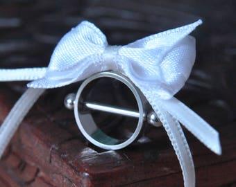 Silver Babydoll Nipple piercing Heavenly White Bow Medium size.