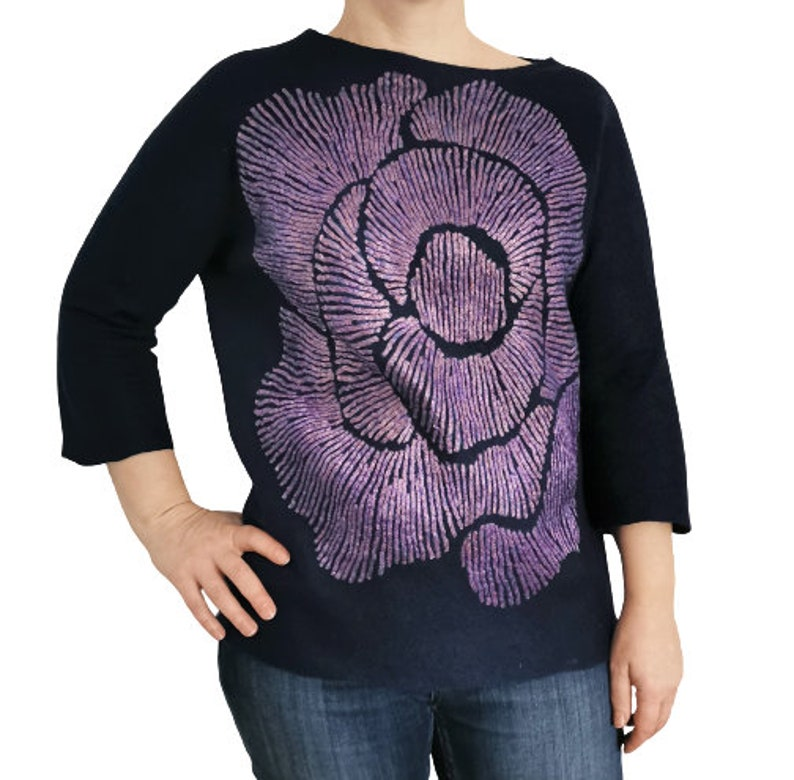 three-quarter sleeves crew neck top merino wool and viscose felted art to wear Women navy blue rose deco felted blouse