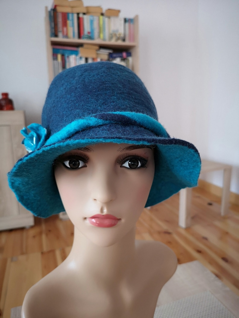 98cd0cb05b64a Ladies bucket hat navy blue and turquoise bucket hat with