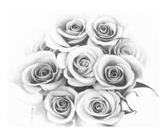 Rose Fiori Disegno A Matita In Bianco E Nero Personalizzato Da Etsy