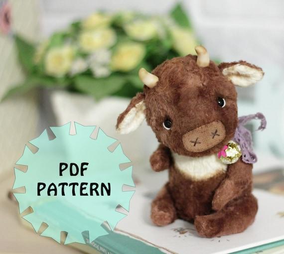"""PDF Pattern teddy bull, cow 6.7""""(17cm)"""