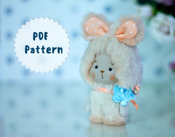 "Pattern plush rabbit 3.9""(10 cm)"