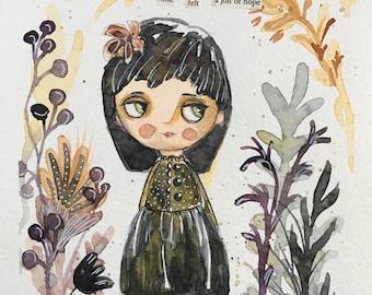 original whimsical watercolor painting HOPE