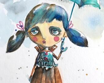 original whimsical watercolor painting My Umbrella