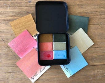 Watercolor paints handmade set in travel tin with 6 full pans APRIL KISS