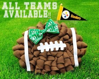 PICK Your FAVORITE FOOTBALL Team Sports Wreath- Burlap Wreath- Chatsworth  Ranch Company Football Wreath 10b214a314a7